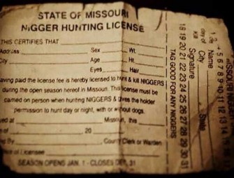 N**GER Hunting Licenses Issued In Missouri